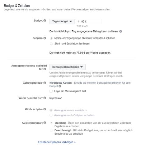 Facebook-Budget