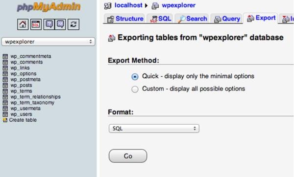 Export der Datenbank bei WordPress-Migration